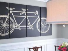Gray and White Traditional Dining Room with Bicycle Artwork