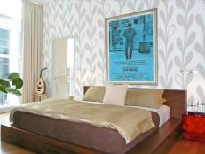 Platform Bed and Graphic Wallpaper Define Modern Bedroom
