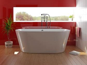 Modern Red Bathroom With Freestanding Tub