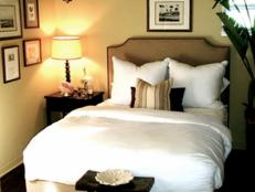 Traditional Bedroom With Neutral Upholstered Headboard