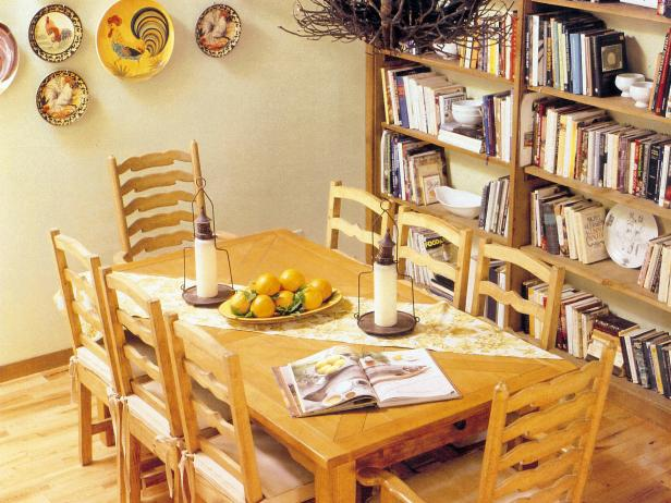 Book Shelves in Dining Room With Wooden Table