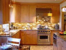 Transitional Kitchen With Brown Tile Backsplash