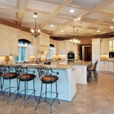 Traditional Neutral Kitchen With White Coffered Ceiling