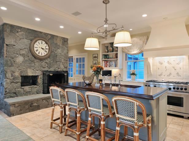 Stone Wall and Fireplace in Transitional Kitchen