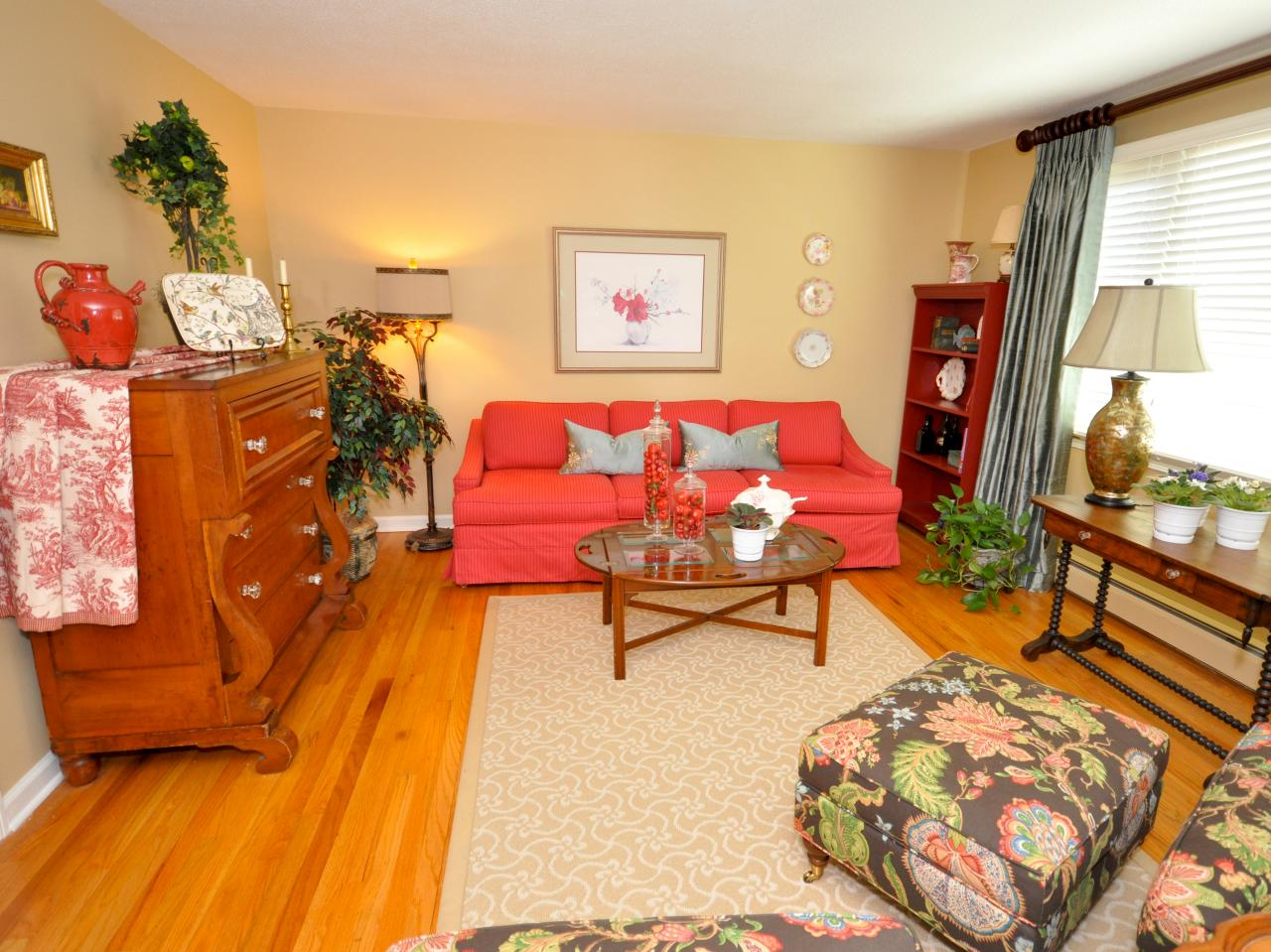 Red Living Room: Living Room With Red Sofa And Hardwood Floors