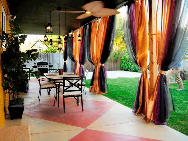 Covered Patio With Colorful Drapes