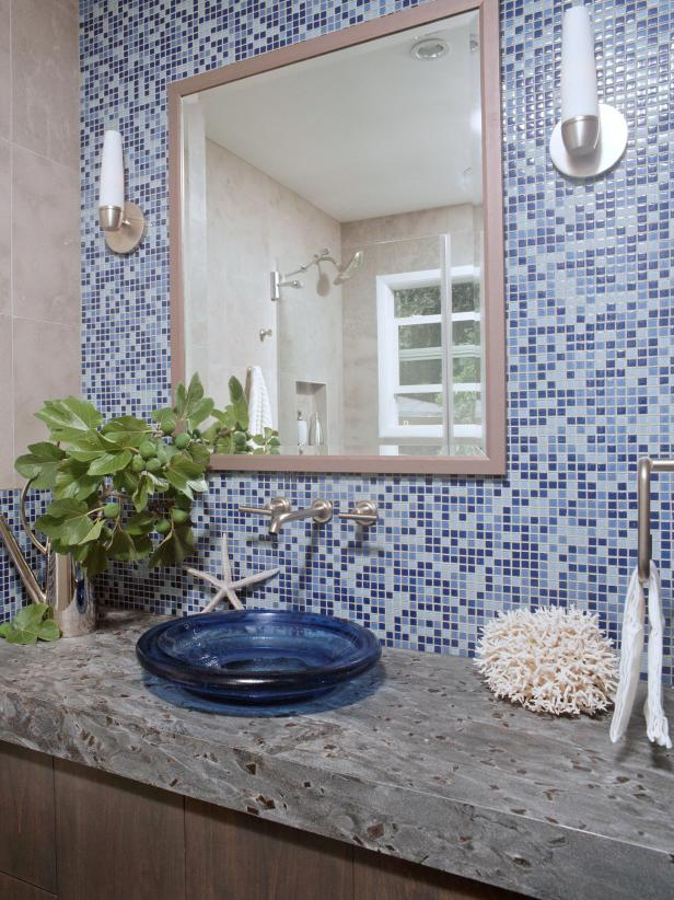 Blue Tiled Bathroom Wall