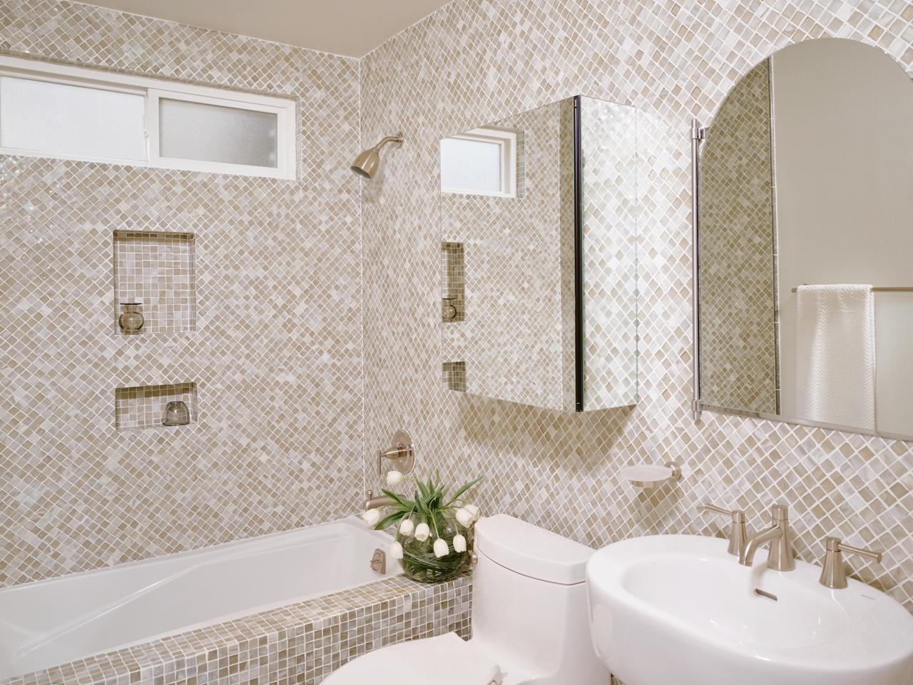 Hidden spaces in your small bathroom hgtv for Mosaic bathroom designs