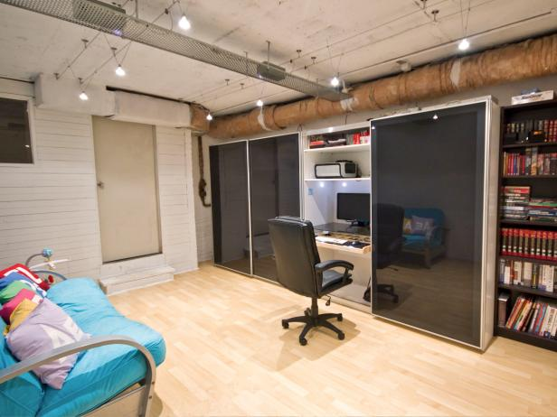 Basement Home Office with Built-In Desk