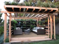 Wooden Pergola With Vertical Garden
