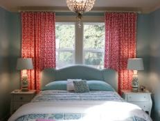 Transitional Teen Bedroom With Coral Draperies