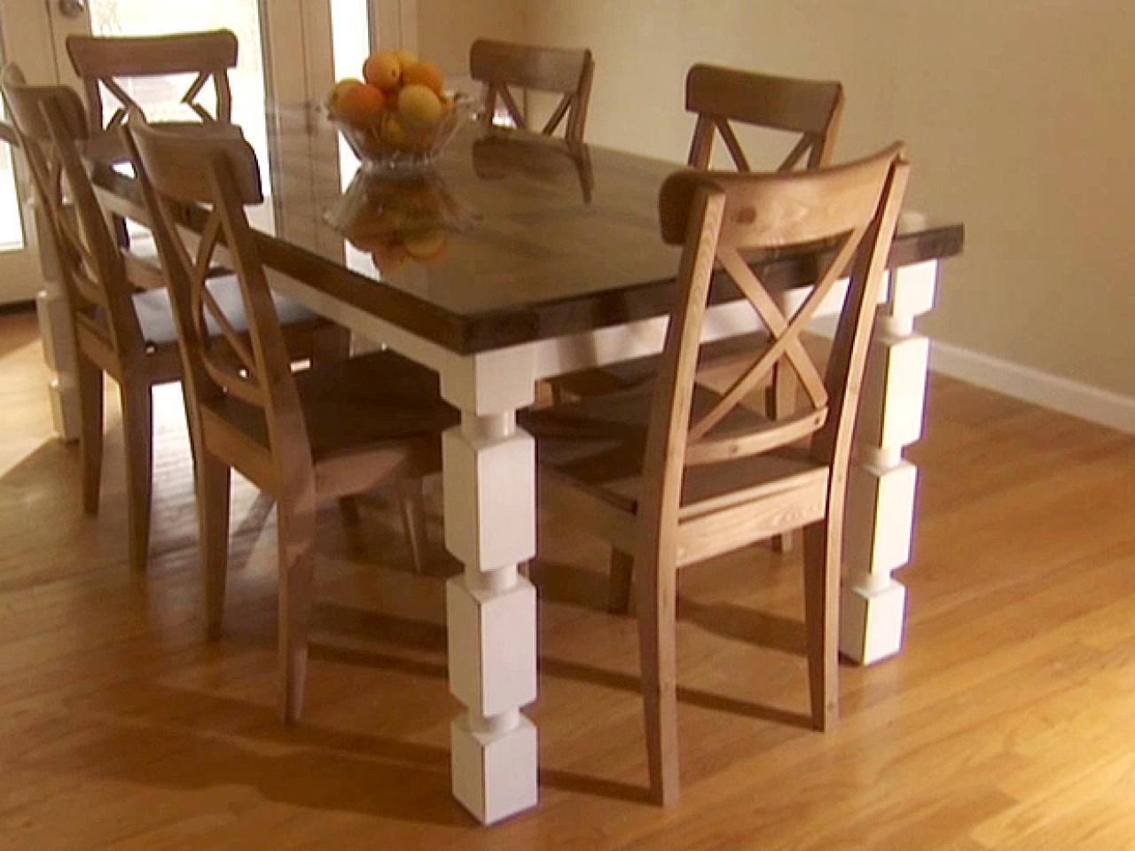 How to build a dining table from an old door and posts hgtv Table making ideas