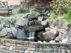 Terraced Stone Pond With Waterfall and Dog