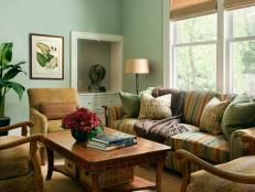 Traditional Green Living Room