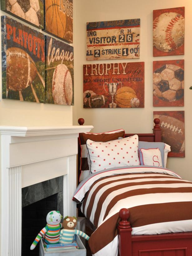 Kid's Room With Sports Theme and Twin Bed