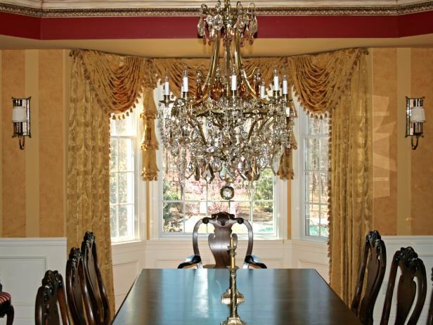 Traditional Gold Dining Room with Crystal Chandelier