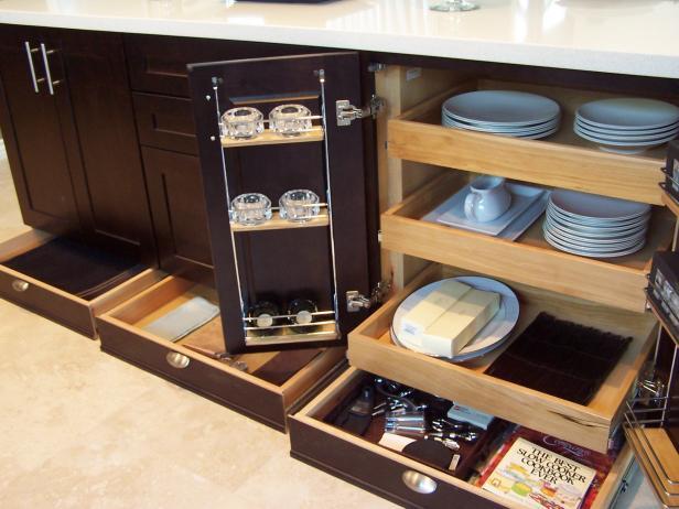 Dark Brown Kitchen Cabinets With Toekick Storage Drawers