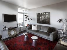 Contemporary Gray Living Room Serves Dual Purpose