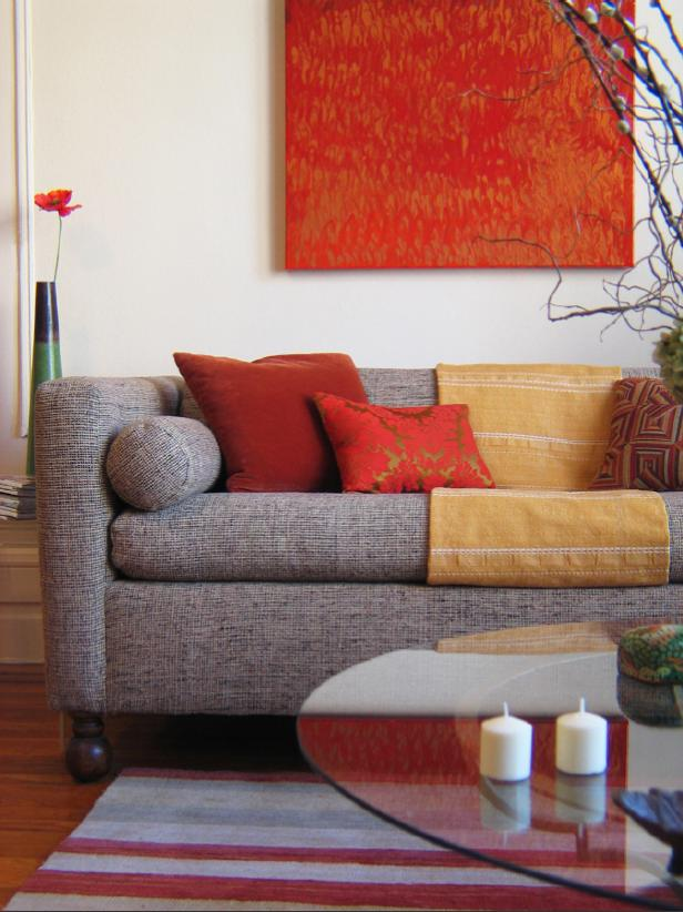 Contemporary Living Room With Tweed Sofa