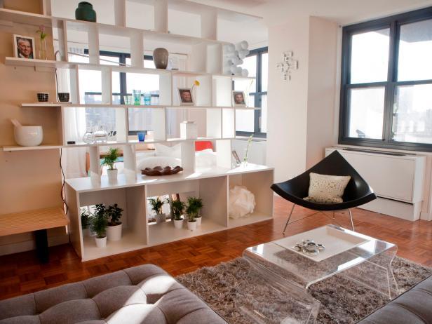 White Modular Shelf Doubles as Room Divider