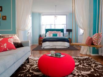 Blue Teen Bedroom With Rope Swing