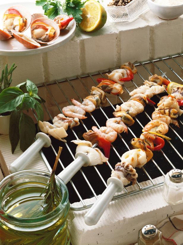 Seafood Skewers Grilled with Herb Infused Olive Oil