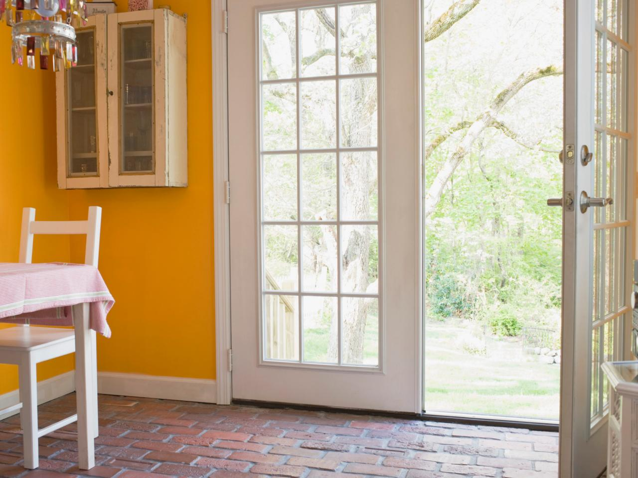 How to install french doors hgtv for Sliding glass door to french door