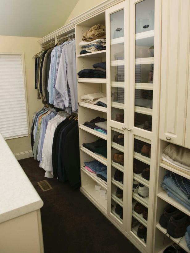 Walk-In Man's Closet With Shoe Shelf