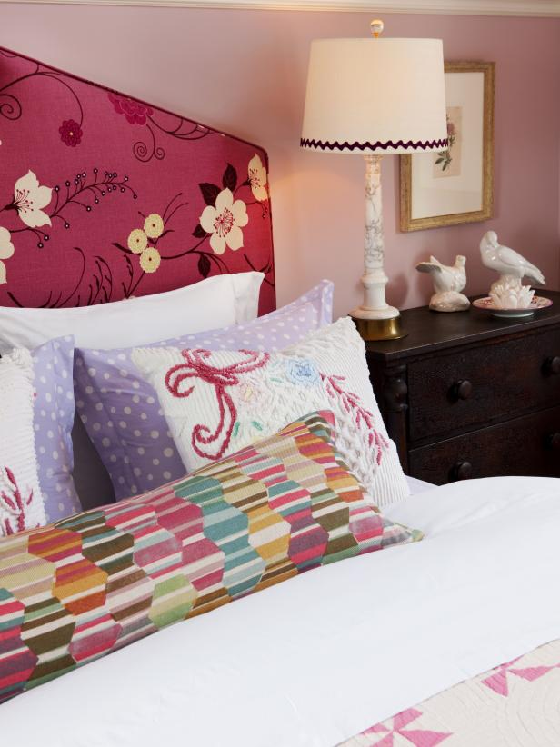 Girls Bedroom With Upholstered Headboard, Colorful Pillows