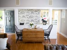 Dining Room with Black and White Toile Wallpaper and Drop Leaf Table