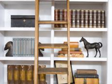 Built-In Bookshelves With Wooden Ladder