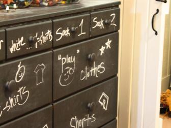Kids' Dresser Painted With Chalkboard Paint