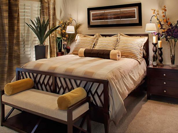 Neutral Brown Master Bedroom With Flowers and Wood Accents