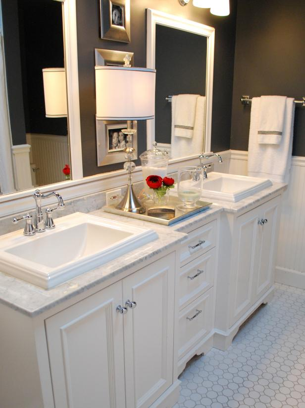 Bathroom With Marble-Topped Double Vanity