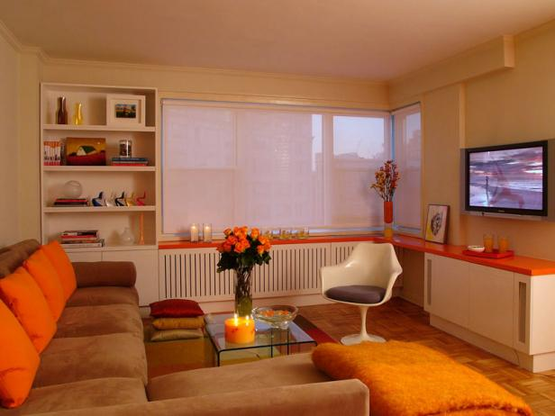 Orange and White Contemporary Living Space