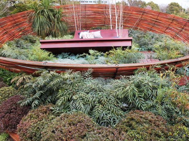 Garden of Shrubs and Grasses Inside Sculptural Woven Bowl
