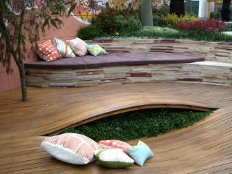Contemporary Wavy Deck With Built-in Lounge and Peek-a-Boo Planter