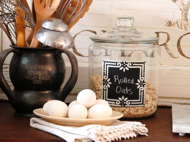 Transform a Glass Canister With Chalkboard Paint, Stencils, and Imagination