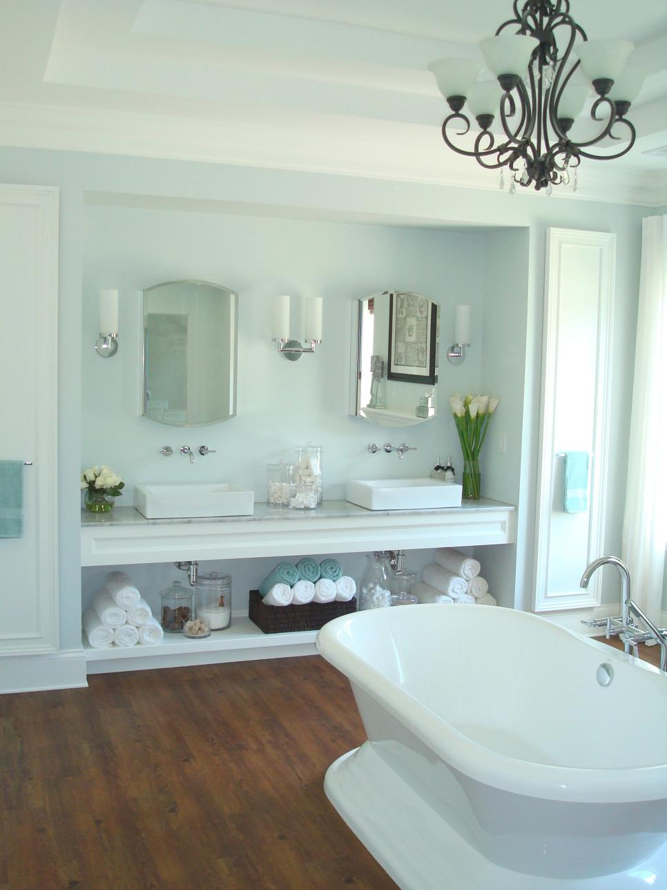 Bathroom vanities for any style hgtv for Open bathroom designs