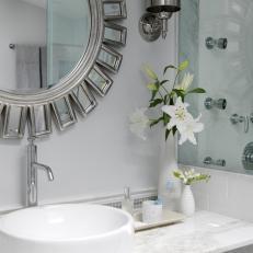 Gray Bathroom With Art Deco Influences