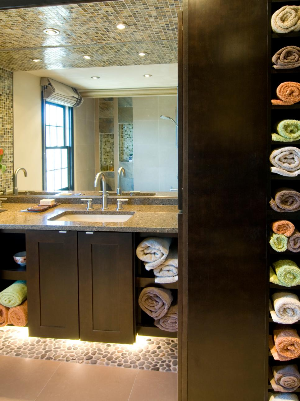 Clever Bathroom Storage Ideas HGTV - Bathroom towel hanging ideas for small bathroom ideas