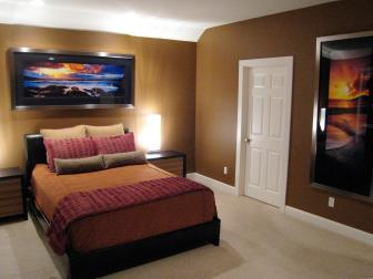 Brown Contemporary Bedroom With Sunset Art