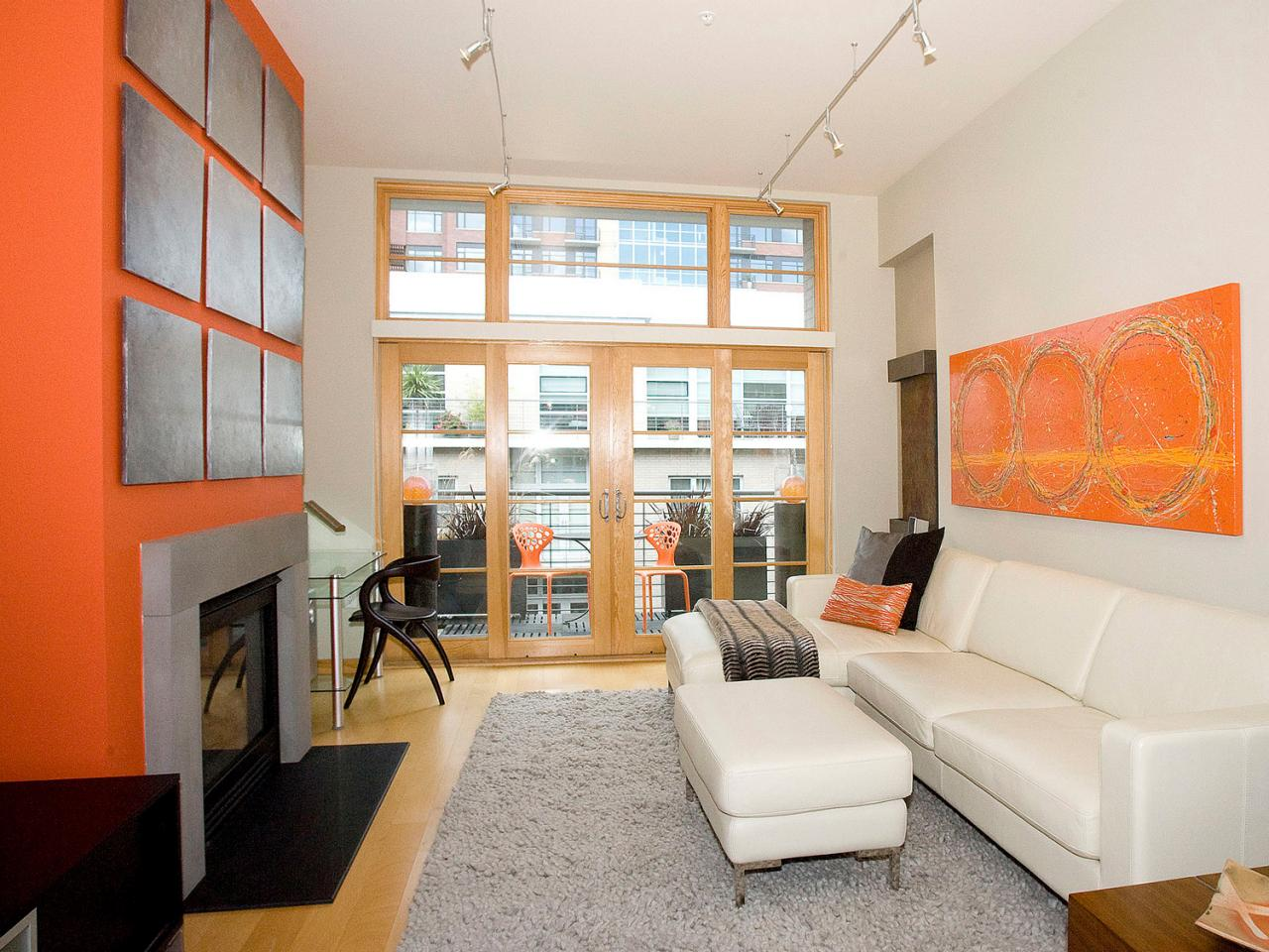 Gray And Orange Living Room : Orange Design Ideas  Color Palette and Schemes for Rooms ...
