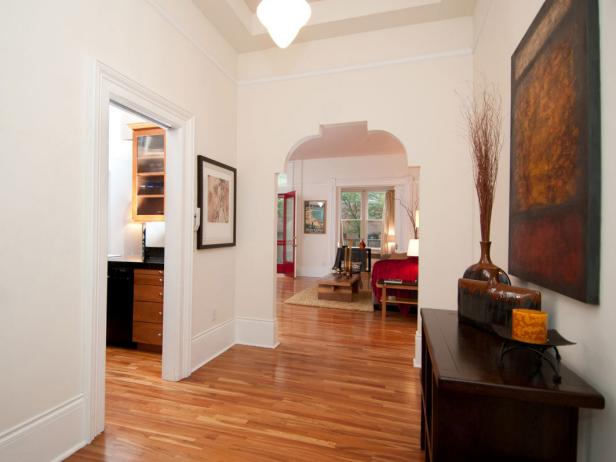 Traditional Entryway With Unusual Architectural Detail
