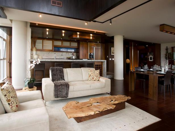 Stylish Cream Living Room With White Sofa