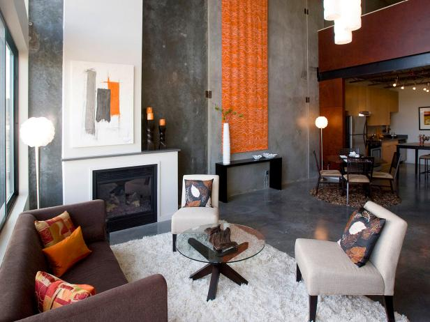 Orange and Gray Loft Living Room