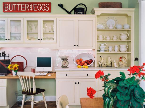 Green Country Kitchen With White Subway Tile Backsplash