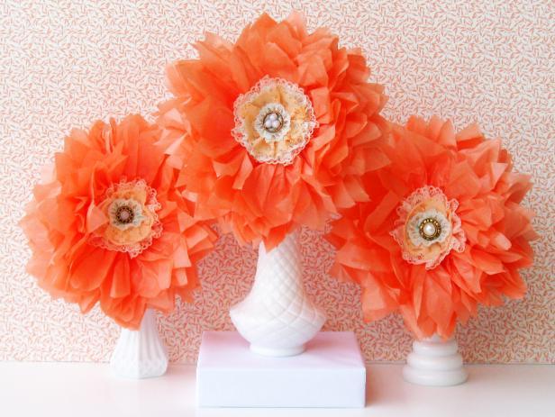 Homemade Paper Floral Centerpiece