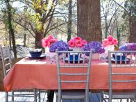 Table Setting with Pink and Purple Flowers