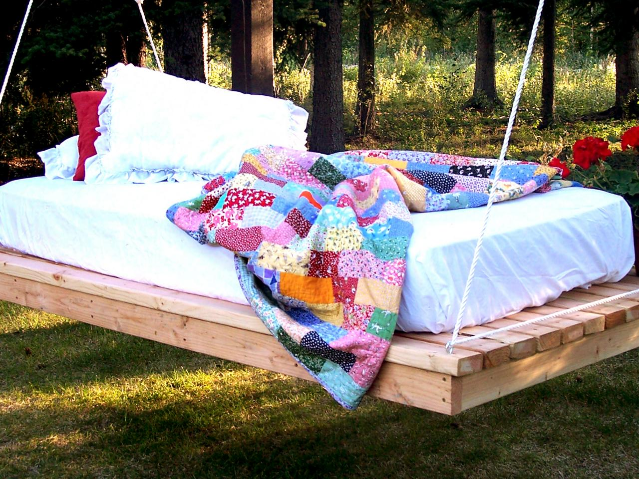 Diy outdoor hanging bed -